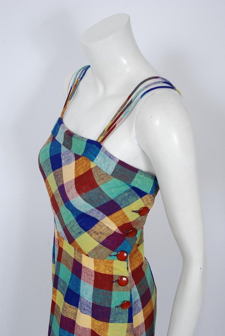 Women's 1940's Gay Gibson Colorful Plaid Linen Cotton Swing Dress & Winged-Sleeve Bolero For Sale