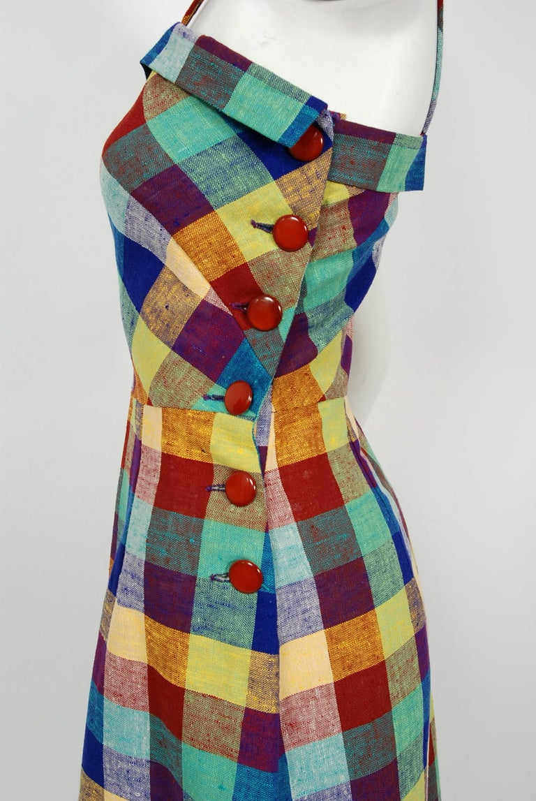 1940's Gay Gibson Colorful Plaid Linen Cotton Swing Dress & Winged-Sleeve Bolero For Sale 2