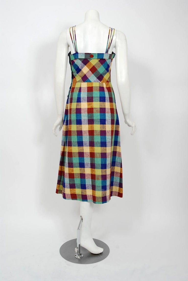1940's Gay Gibson Colorful Plaid Linen Cotton Swing Dress & Winged-Sleeve Bolero For Sale 3