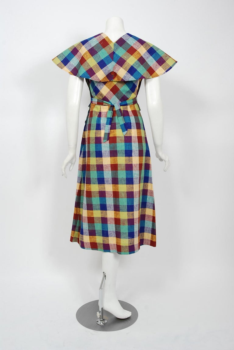 1940's Gay Gibson Colorful Plaid Linen Cotton Swing Dress & Winged-Sleeve Bolero For Sale 4
