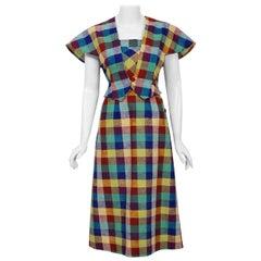 1940's Gay Gibson Colorful Plaid Linen Cotton Swing Dress & Winged-Sleeve Bolero