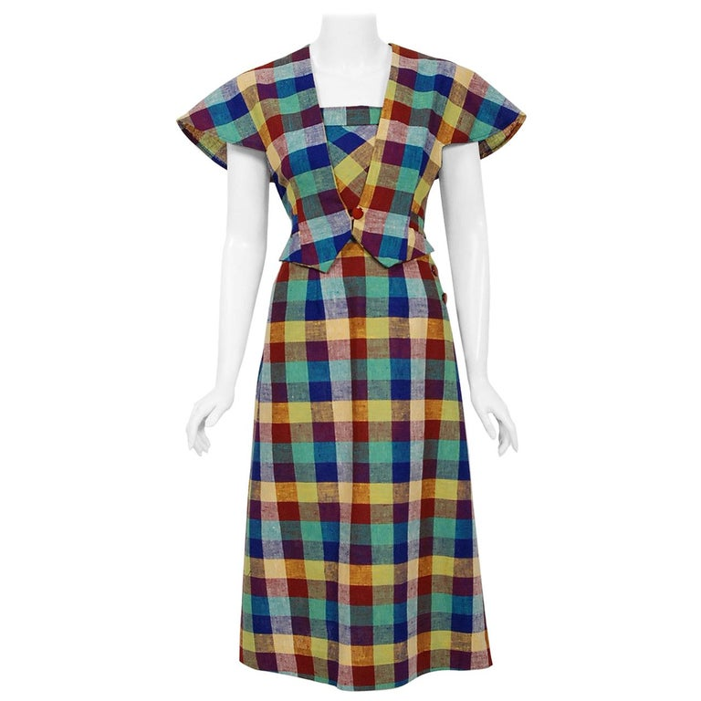 1940's Gay Gibson Colorful Plaid Linen Cotton Swing Dress & Winged-Sleeve Bolero For Sale
