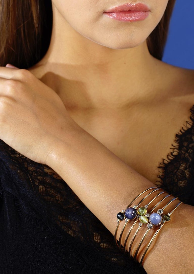 1940s Gem Set and Diamond Bracelet In Excellent Condition For Sale In Geneva, CH