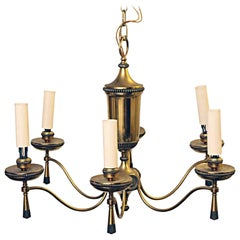 1940s Georgian 6 Arm Brass Chandelier with Tassel and Beaded Rosette Details