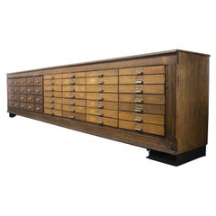 1940's German Apothecary Long Bank of Drawers, Forty Eight Drawers