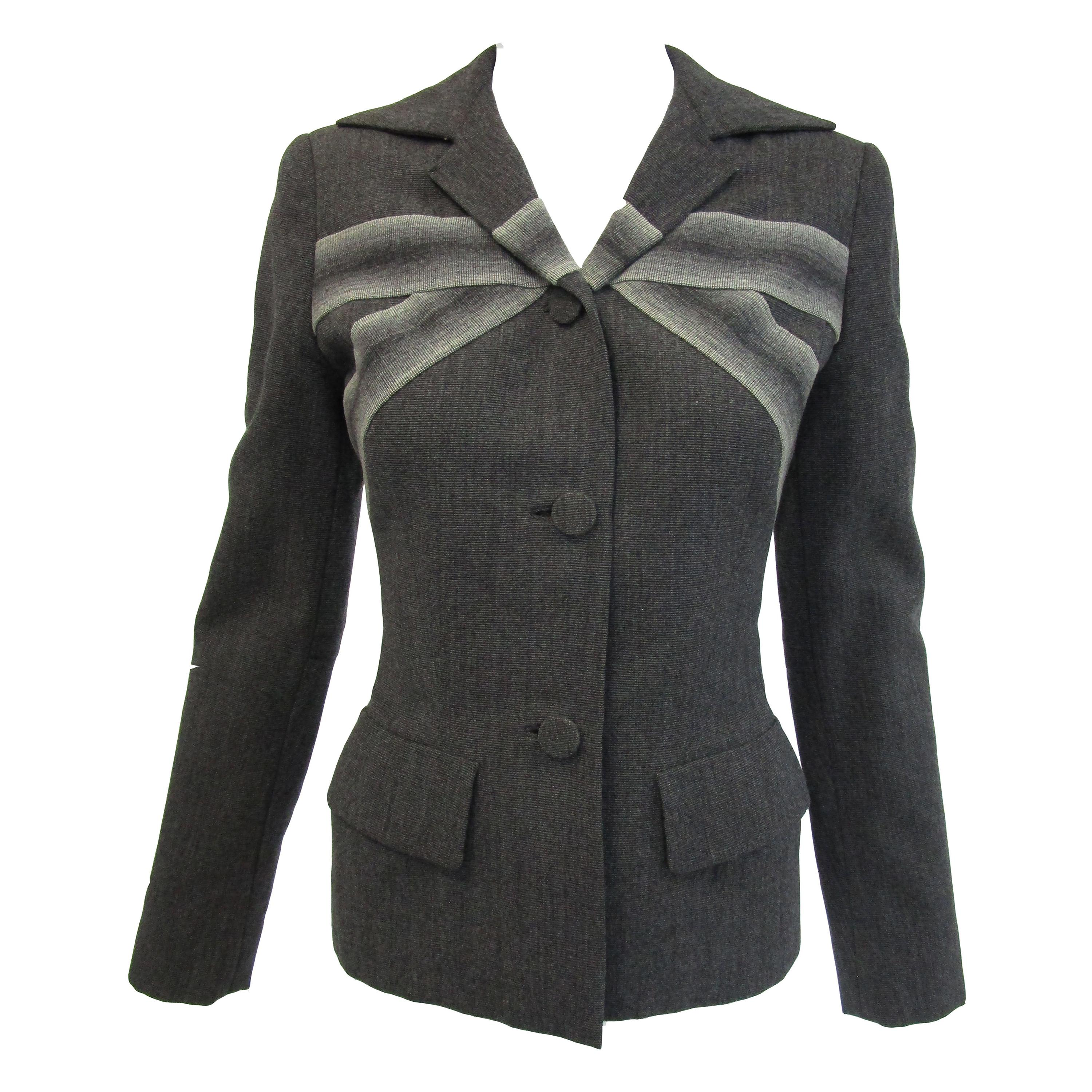 1940s Gilbert Adrian Ash Grey Wool Suit Jacket with Gradient Stripes