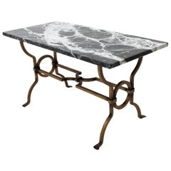 1940s Gilbert Poillerat Gilt Iron Coffee Table with Black and White Marble Top
