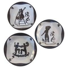 1940s, Gio Ponti for Richard Ginori, Set of 3 Ceramic Plates