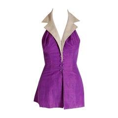 1940's Gloria DeHaven Celebrity Worn Old Hollywood Purple Silk Halter Playsuit