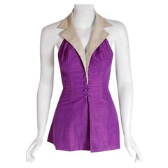 1940's Gloria DeHaven Celebrity Worn Old Hollywood Purple Silk Halter Playsuit