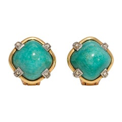 1940s Gold and Amazonite Button Earrings with Diamond Accents