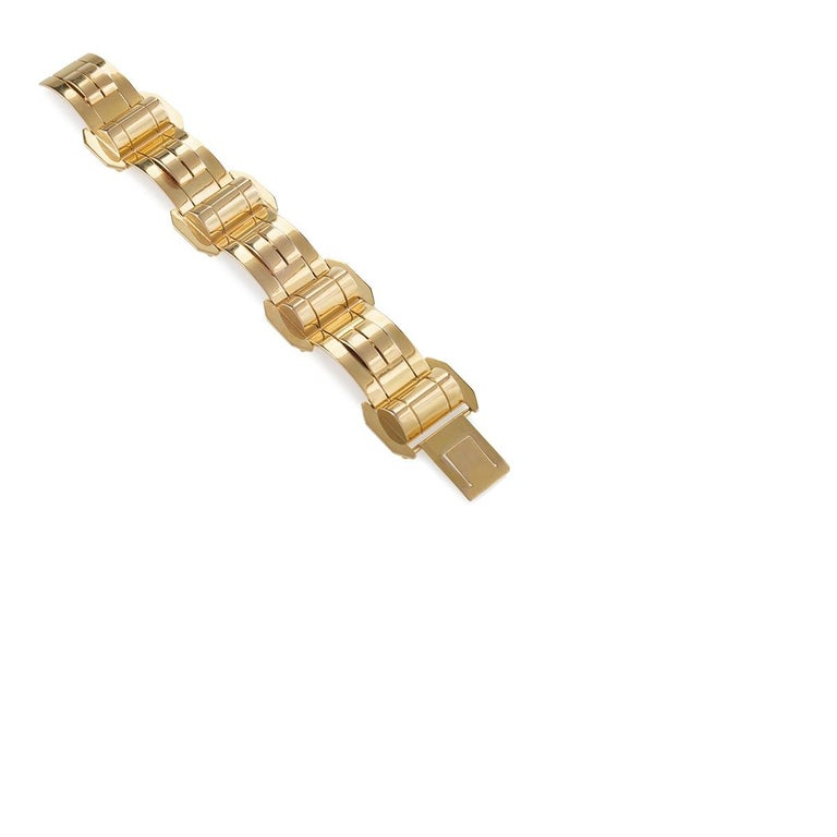 1940s Gold Bracelet In Excellent Condition For Sale In New York, NY