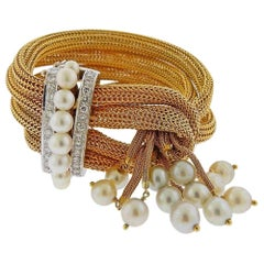 1940s Gold Diamond Pearl Tassel Bracelet