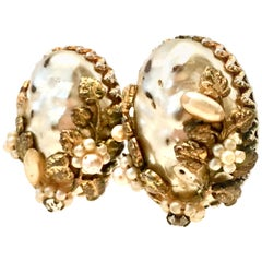 1940'S Gold Faux Baroque & Seed Pearl Organic Form Earrings By, Coro