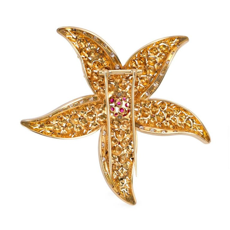 Retro 1940s Gold, Ruby, and Diamond Starfish Brooch For Sale