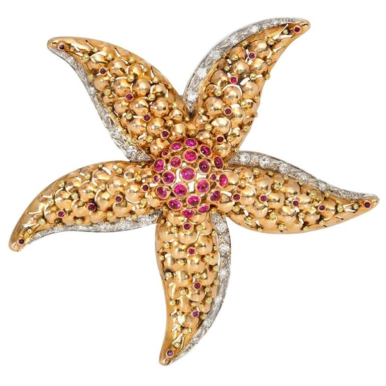 1940s Gold, Ruby, and Diamond Starfish Brooch For Sale