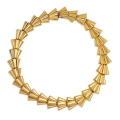 1940s Gold Scalloped Link Necklace
