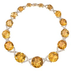 1940s Graduated Citrine Necklace with Diamond X-Form Intersections