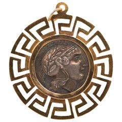 1940s Greek Coin Pendant, 18 Karat Yellow Gold