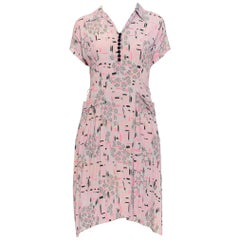 1940S Grey & Pink Rayon Crepe Atomic Print Dress