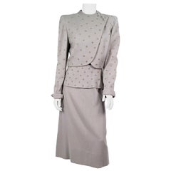 1940s Grey Rhinestone and Studded Suit