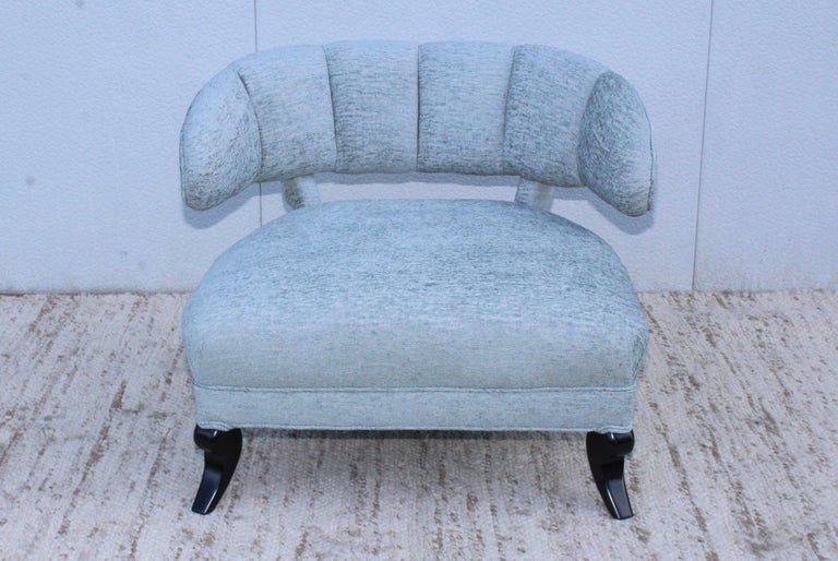 Stunning 1940s large lounge chair attributed to Grosfeld House. Newly reupholstered.