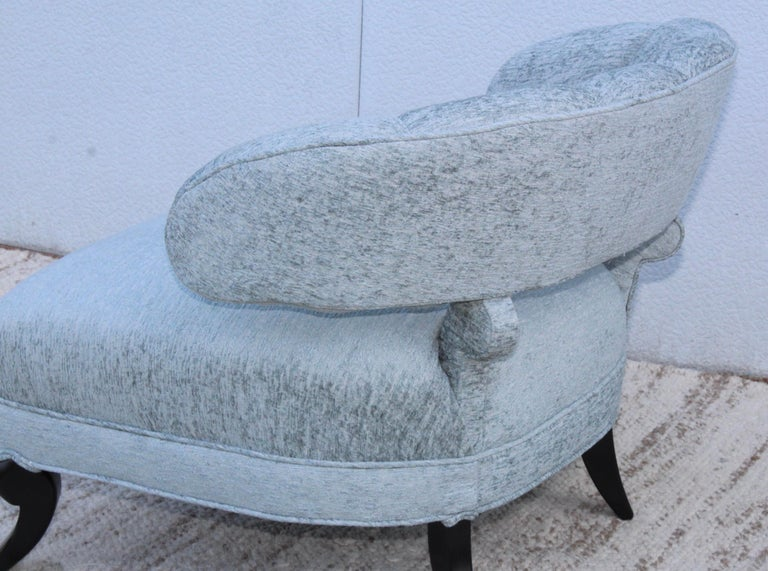 Chenille 1940s Grosfeld House Attributed Slipper Lounge Chair For Sale