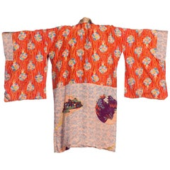 1930S Purple & Blue Silk Kimono Printed With Butterflies Japanese Fans