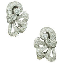 1940s Handmade Platinum Diamond Earrings 2.60 Carat