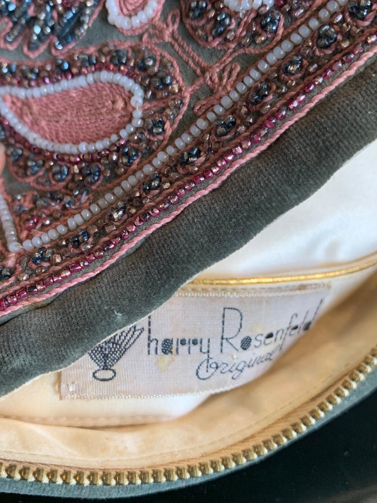 1940s Harry Rosenfeld Sage Velvet Envelope Clutch W/ Beaded & Embroidered Flap For Sale 7