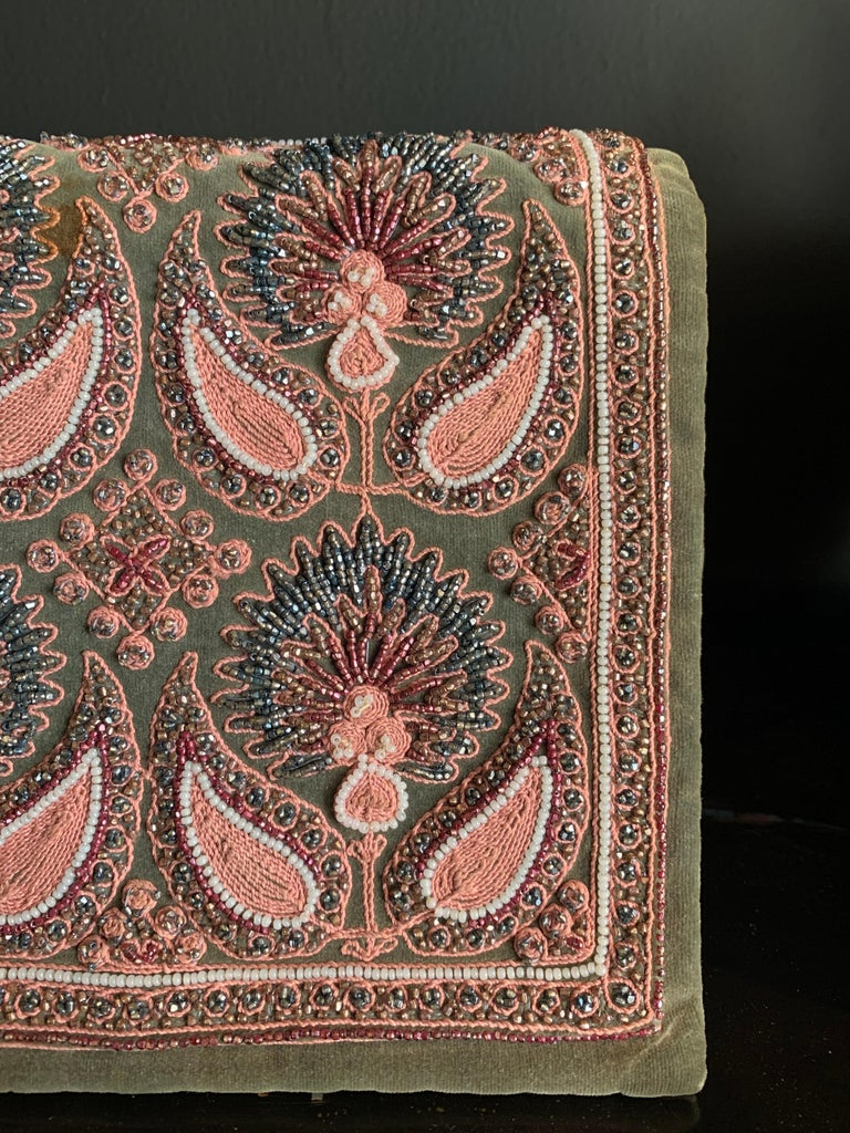 Brown 1940s Harry Rosenfeld Sage Velvet Envelope Clutch W/ Beaded & Embroidered Flap For Sale