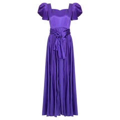 1940s Haute Couture Purple Satin Chiffon Dress