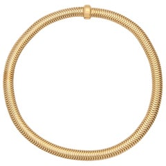 1940s Heavy Flexible Snake Omega Style Gold Slinky Necklace with Gold Clasp