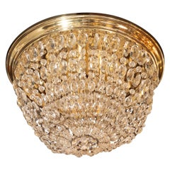 1940s Hollywood Domed Two-Tier Cut Crystal Flush Mount with Circular Brass Base