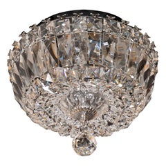 1940s Hollywood Faceted Crystal Flush Mount Chandelier with Spherical Medallion