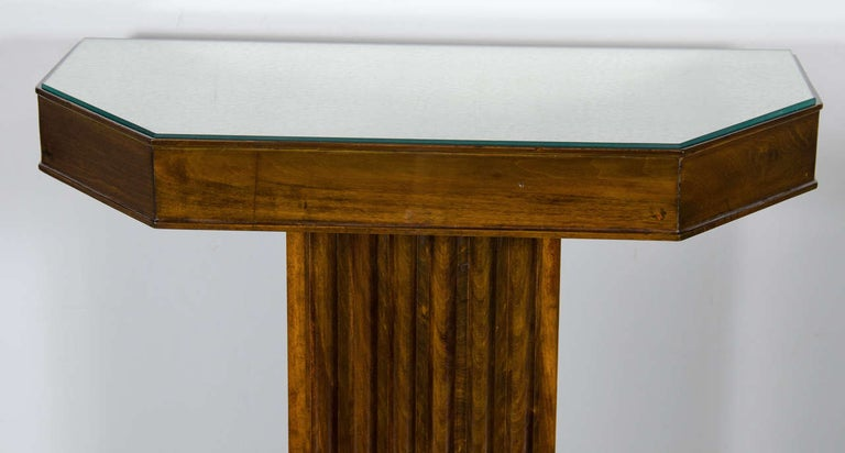 American 1940s Hollywood Fluted Walnut Console by Lorin Jackson for Grosfeld House For Sale