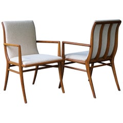 1940s Hollywood Glam Modern Upholstered Dining Armchairs Vintage Midcentury
