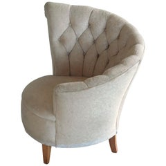 1940s Hollywood Regency Asymmetrical Fan Back Tufted Lounge Chair