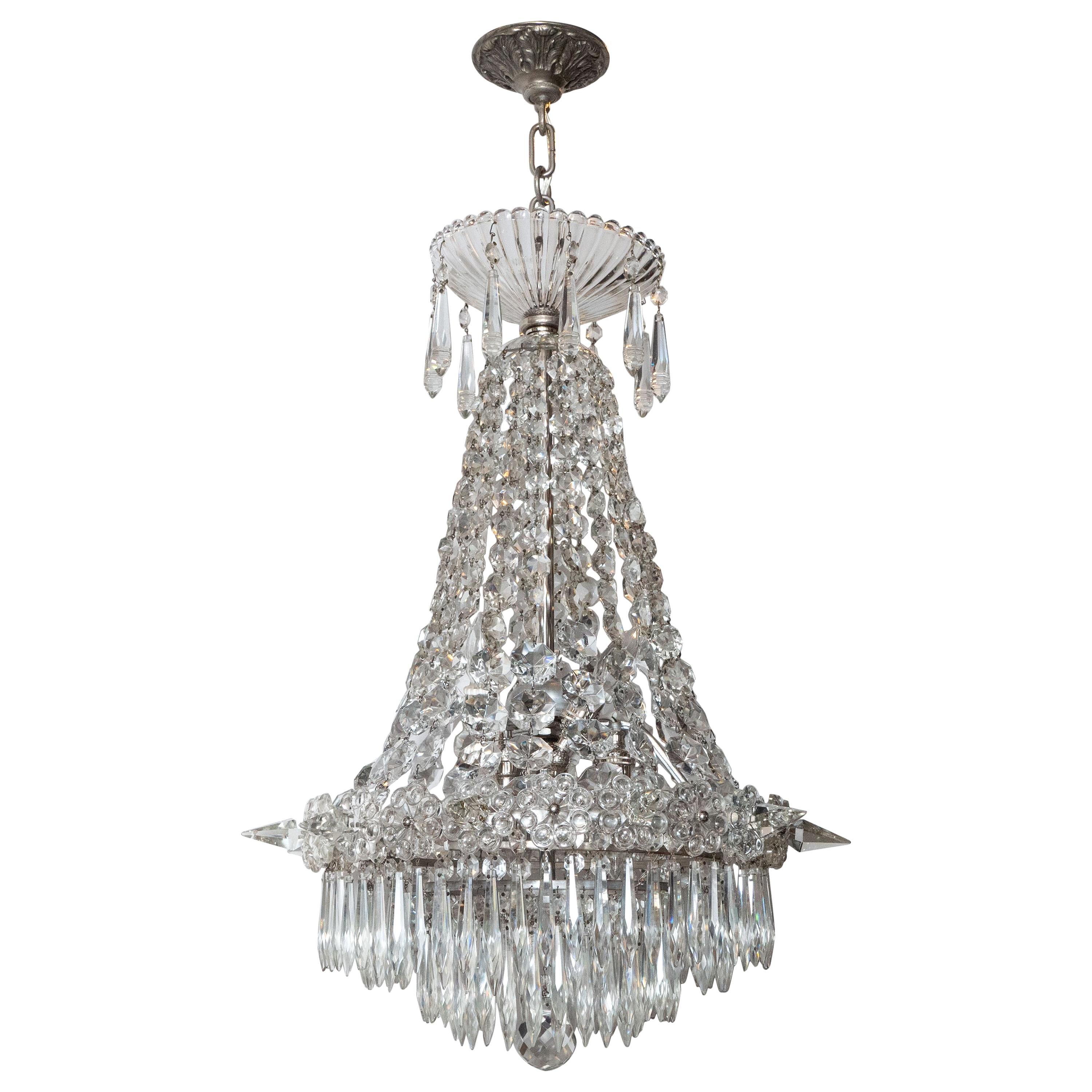 1940s Hollywood Regency Cut & Beveled Crystal Chandelier with Silvered Fittings