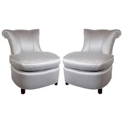 1940s Hollywood Regency Dorothy Draper Grey Slipper Chairs