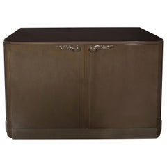 1940s Hollywood Sage Gray Walnut Cabinet by Lorin Jackson for Grosfeld House