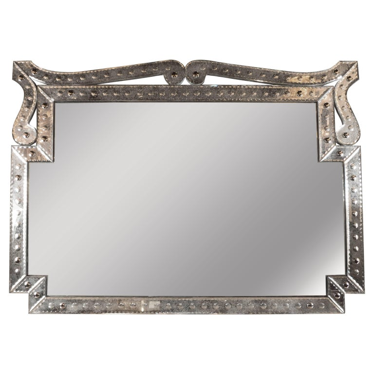 1940s Hollywood Style Venetian Mirror with Bevel and Chain Detailing