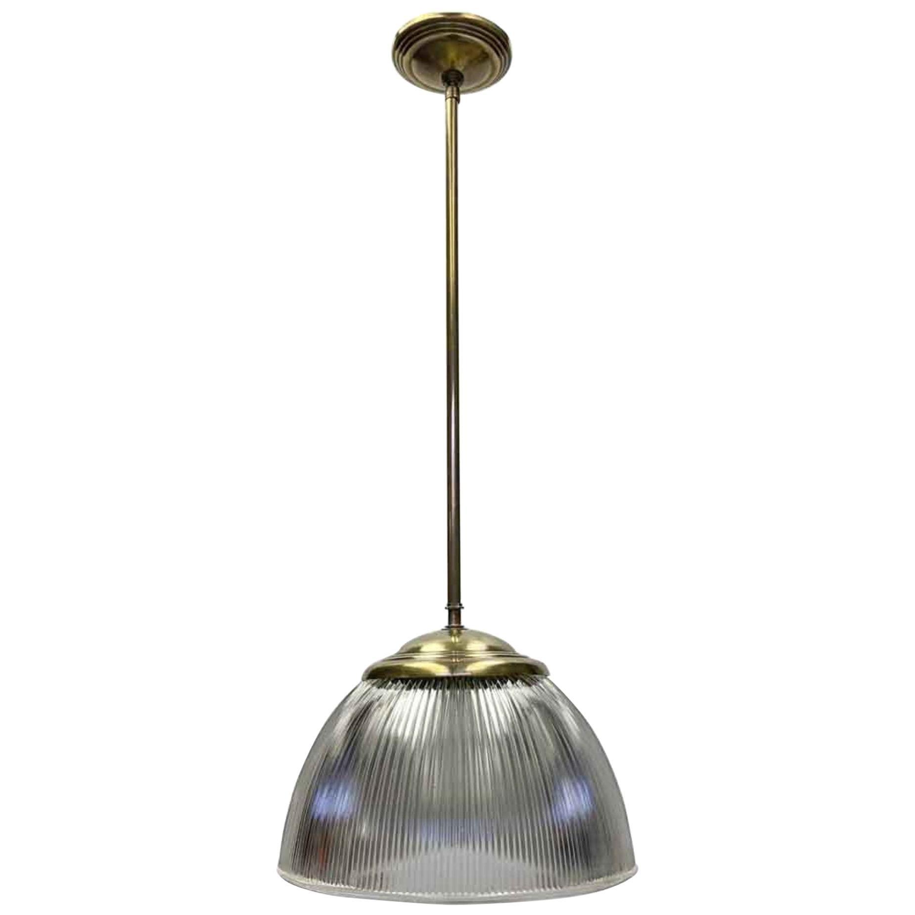 1940s Holophane Globe Pendant Light with Brass Pole Fitter
