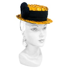 1940s Honey Raffia Toy Boater Hat