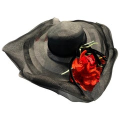1940s Howard Hodge Black Horsehair Braid Picture Hat W/ Ruffled Brim & Poppies