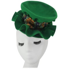 1940's Howard Hodge Green Tilt Fascinator Hat