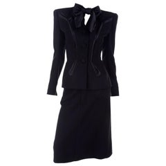 1940s I Magnin Importers Skirt Blazer Black Crepe Suit W Satin Trim & Bow Sash