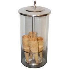 1940s Ice Cream Cone Glass Dispenser / Holder