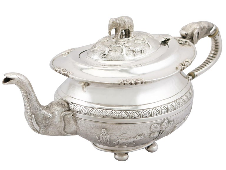 Early 20th Century 1920s Indian Silver Teapot For Sale