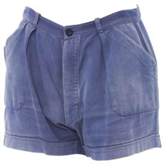 1940S Indigo Blue Cotton Denim Patch Pocket Workwear Shorts